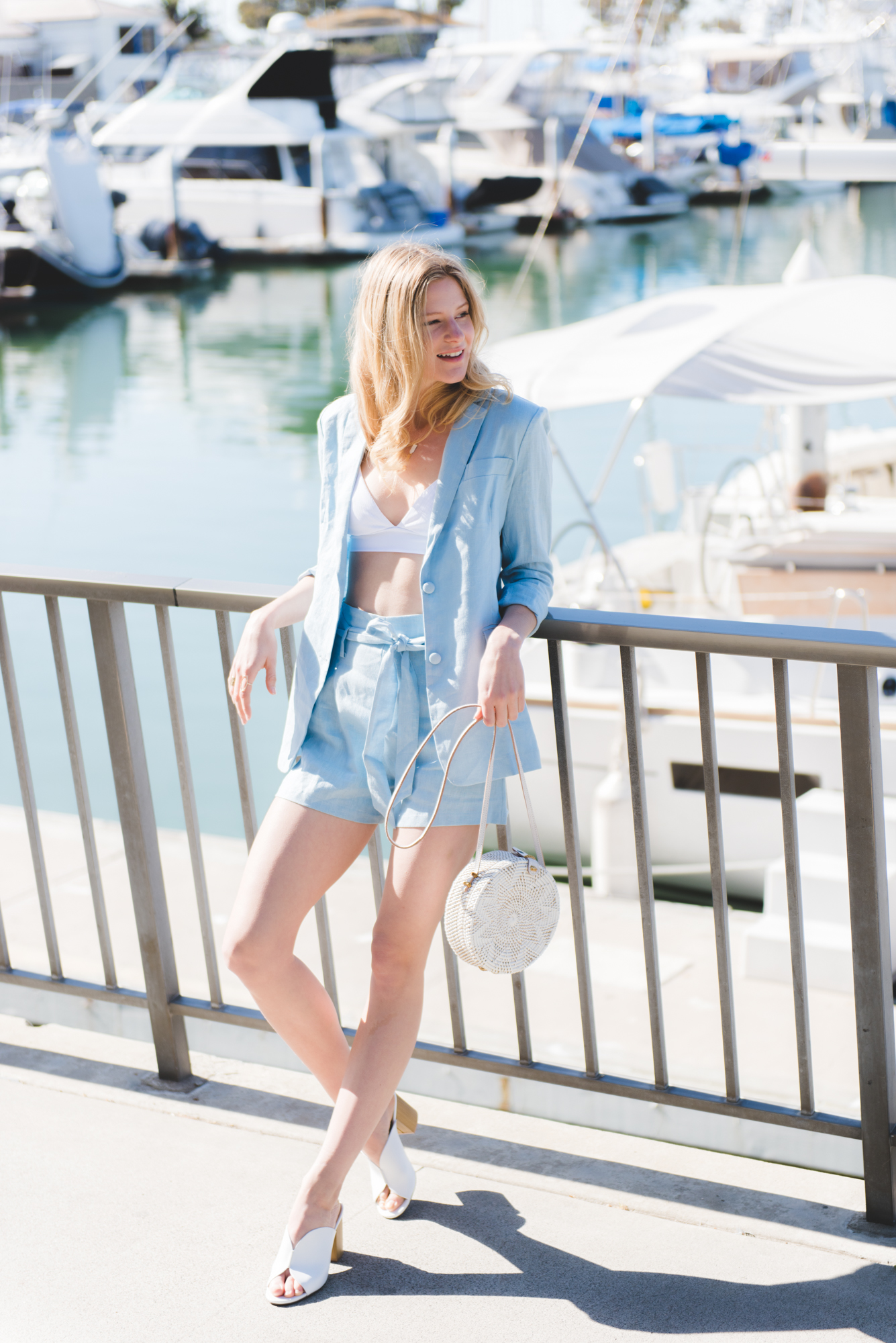 0e480ef5b3e Feminine Looks Linen Summer Suit Linen Blazer Linen High Waisted Tie Front  Shorts Matching set white