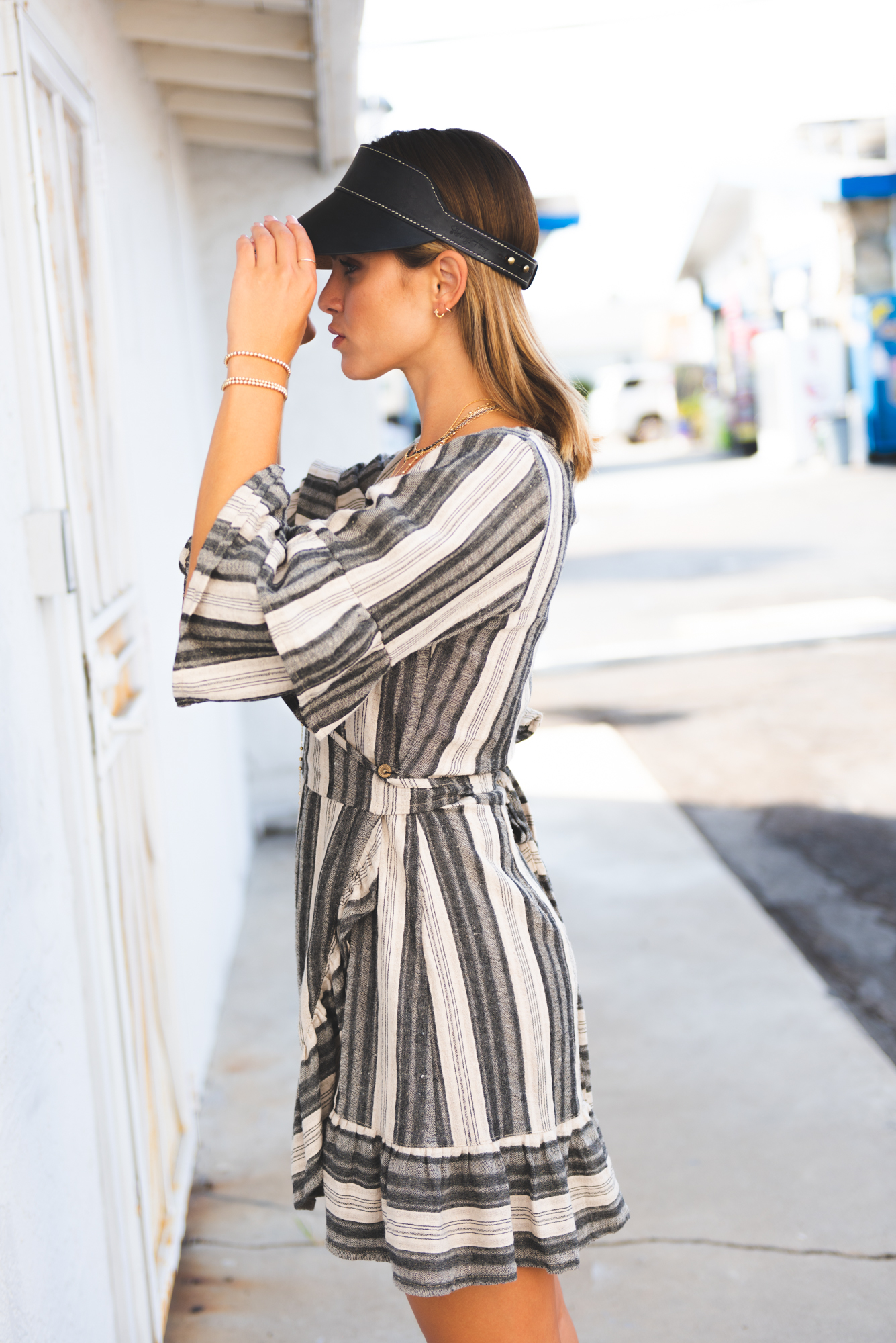 2f114cff084d0 Accessorized Outfit Ideas: Cleobella Mini Dress Statement Sleeve Dress Wrap  Statement Sleeve Mini Dress Striped