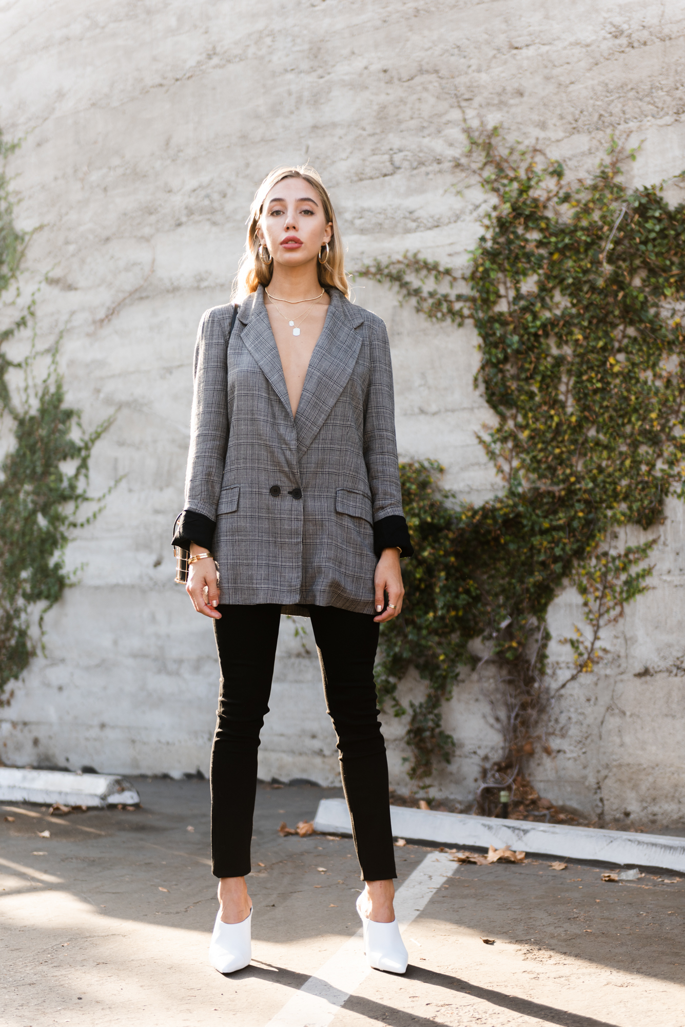 b2b5507222c Outerwear Outfits Oversized Plaid Blazer Black Skinny Jeans DL1961 High Rise  Skinny Jeans Street Style White