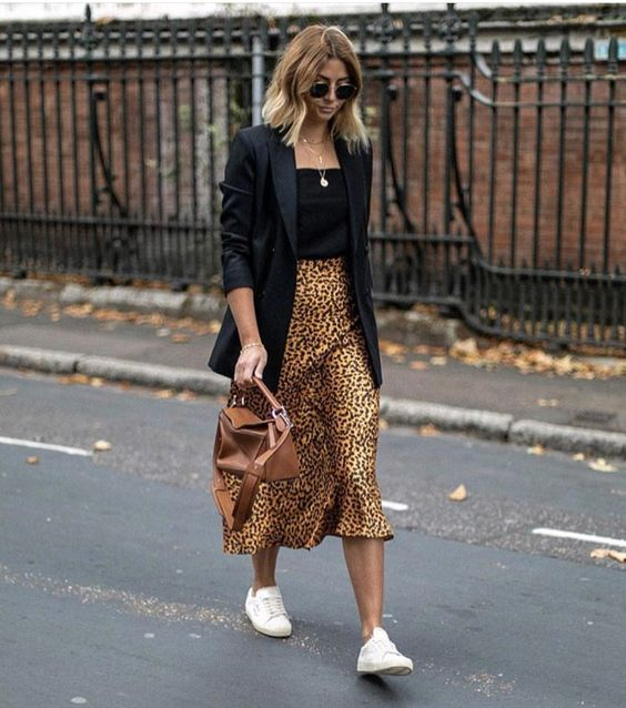 d6120f047e34 Leopard Print Skirt Outfit Ideas Black Tank Top Black Blazer Layered  Necklaces Classic Aviators Sneaker Outfit